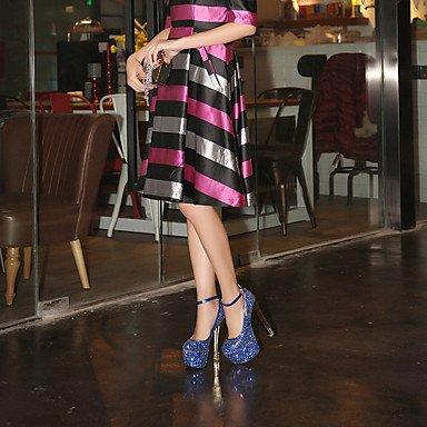 Talones de las mujeres Zapatos Primavera Verano Otoño Invierno otro club de cuero banquete de boda y vestido de noche de lentejuelas de tacón grueso BuckleBlue rosa Pink