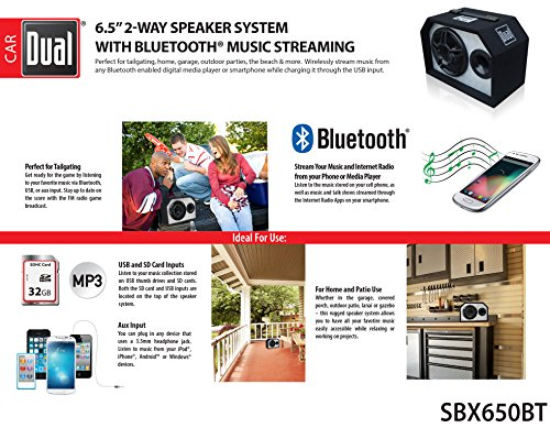 Dual Electronics SBX650BT 2 Way 6.5 inch Indoor Outdoor Bluetooth Powered Speaker with built-in Amplifier by Dual Electronics (Image #3)