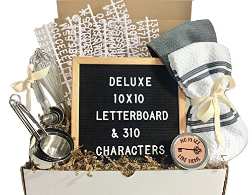 Unique House Warming Wedding New Home Gift Basket with Letter Board, Kitchen Utensils, Candle and More!