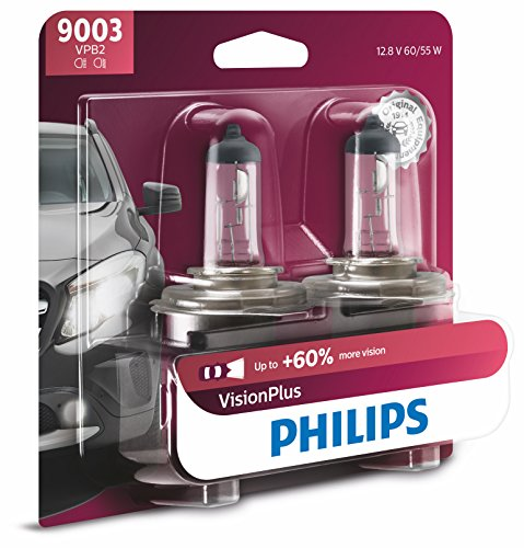 (Philips 9003 VisionPlus Upgrade Headlight Bulb with up to 60% More Vision, 2 Pack)