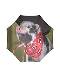 Birthday Novelty Gifts Cute Piglet With A Scarf And A Hat 100% Fabric And Aluminium Foldable High-quality Umbrella