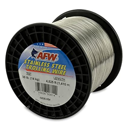 Image of American Fishing Wire Stainless Steel Trolling Wire, 30-Pound Test/0.51mm Dia/1409m Lead Core & Wire Line