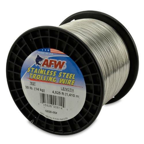 American Fishing Wire Stainless Steel Trolling Wire, 30-Pound Test/0.51mm Dia/1409m