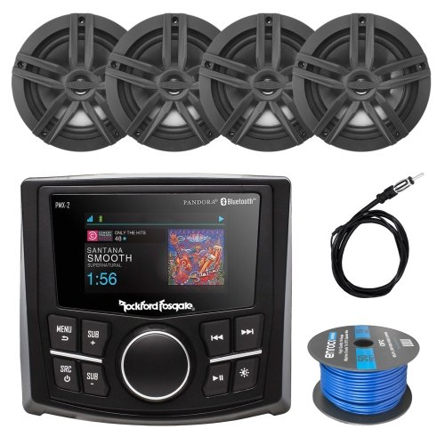 Rockford Fosgate PMX-2 Ultra Compact Bluetooth Marine Boat MP3 Digital Media Receiver Bundle Combo With 4x Enrock Black 6.5 Inch Audio Speaker + 40