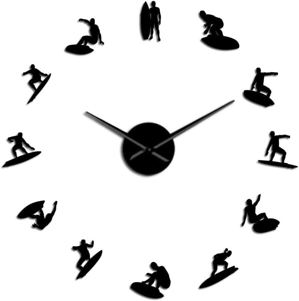 ZFANGY Acrylic Wall Clock Wall Clock DIY Timepiece Festival Gift Surfing Wave Man DIY 3D Acrylic Wall Clock Sea Decor Outdoor Beach Water Sports Surfboard Watch Hobby Gift—47inch Black