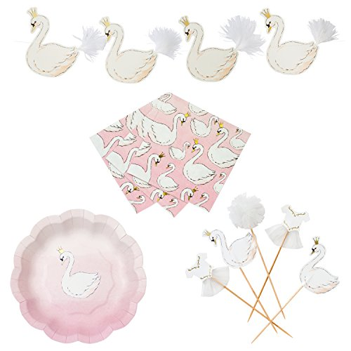 (Talking Tables We Heart Swans Party Bundle for Birthdays, Celebrations & Parties | Paper Plates, Cocktail Napkins, Cake Toppers & Garland)