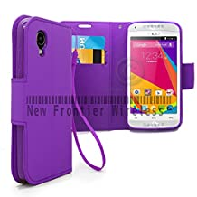 BLU Dash C Music Dash Music JR (D380L / D390)Flip Cover Wallet Case with a hand band, Many Colors Available (Wallet Purple)