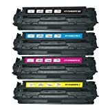 Full Set of Remanufactured HP 128A (CE320BK/CE321C/CE322Y/CE323M) Toner Cartridges for HP LaserJet Pro CM1415fnw CP1525nw Printer – 4 Pack, Office Central