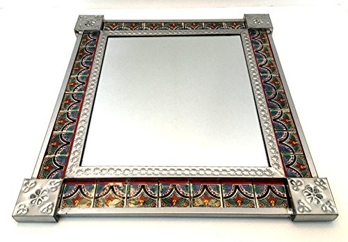 Hand Made in Mexico Tin & Ceramic Tile Decorative Mirrors, (Red Flowers) (Flower Tin Mirror)