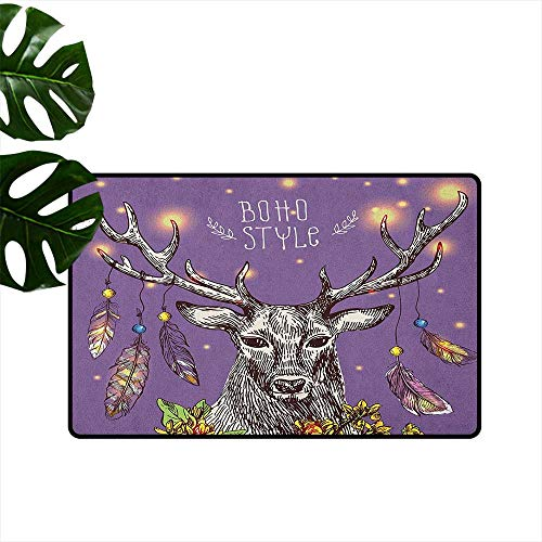 Hand Over Reins - Boho Thin Door mat Boho Hand Drawn Rein Deer with Gypsy Fashioned Elements on Antlers Unique Wild Creature Quick and Easy to Clean W23 x L35 Purple