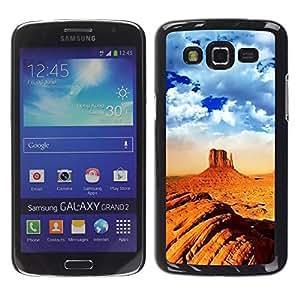 FECELL CITY // Duro Aluminio Pegatina PC Caso decorativo Funda Carcasa de Protección para Samsung Galaxy Grand 2 SM-G7102 SM-G7105 // Desert Mountain Climbing Extreme Orange