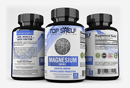 Magnesium Citrate/Oxide Supplement 500mg, 60 Vegetarian Capsules - Max Strength Magnesium Capsules To Support Healthy Bones, Muscles, Teeth, and Energy Boost - Non-GMO and Vegetarian-Friendly