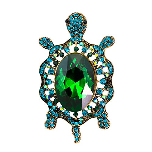 (Vintage Style Tortoise Crystal Brooch Lucky Turtle Rhinestone Pin Classic Woman Animal Decorative Jewelry (Green))