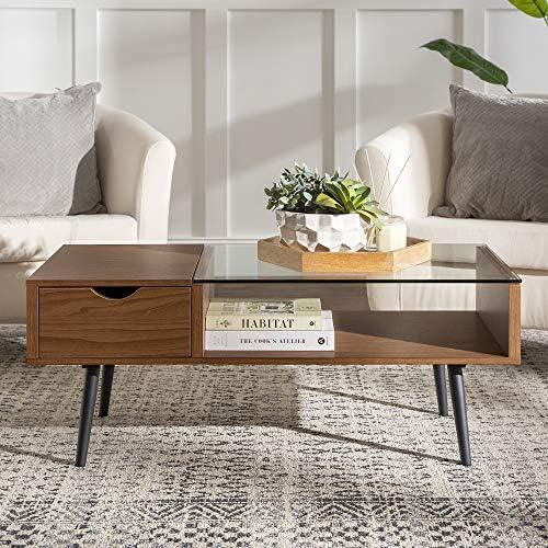 Reviewed: Walker Edison Montclair Mid Century Modern Glass Top 1 Drawer Coffee Table