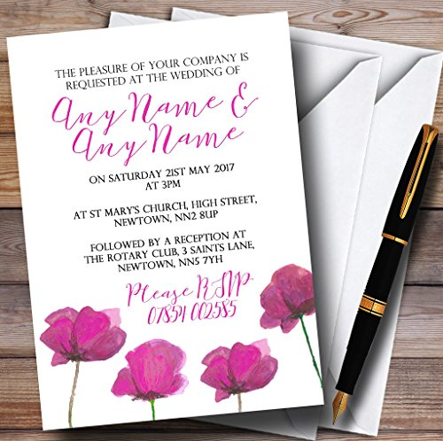 Poppy Wedding Invitation - Stunning Watercolour Poppies Pink Personalized Wedding Invitations