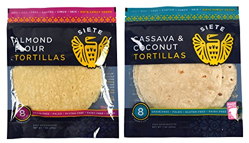 Siete Paleo Tortillas Sampler Pack, Almond Flour & Cassava Coconut, 8 count (2 packs total)