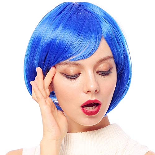 Starcourtyard Womens Blue Short Wigs with Bangs for Women Halloween Party Cosplay Costume Wig (Blue)