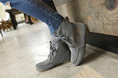 Aisun Damen Runde Zehen Schnürsenkel Flach Kurzschaft Combat Boots Stiefel Grau