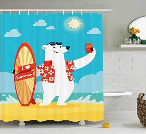 Sea Animals Decor Shower Curtain Set By Ambesonne, Polar Bear With I Love Summer Surfboard Taking Selfie At The Beach Comic Fun Art, Bathroom Accessories, 69W X 70L Inches, Aqua Yellow