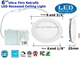 Cheap Led 15W 6-inch 1000 Lumen ENERGY STAR UL Dimmable Slim Ultra Thin Retrofit LED Recessed Lighting Fixture, Daylight White 5000K 120W Halogen Equivalent for New Construction and Remodel (6 PACK)
