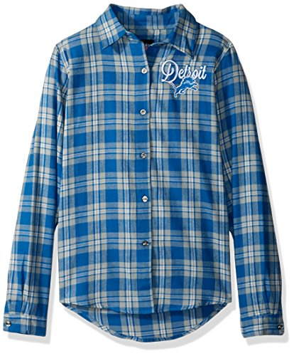 Detroit Lions 2016 Wordmark Basic Flannel Shirt - Womens Small by Forever Collectibles