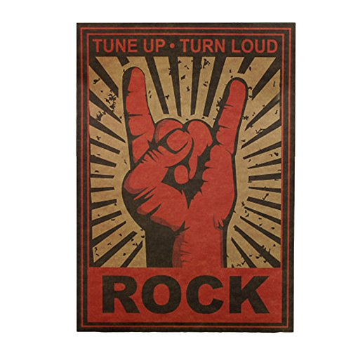 Haihuic Cartel Antiguo de Estilo Rock Antiguo Imprimir Papel Kraft Vintage Arte de la Pared para la decoración casera Café...