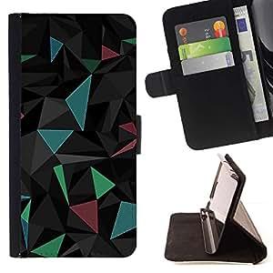 Momo Phone Case / Flip Funda de Cuero Case Cover - Polígono Triángulo Negro Azul futurista - LG G3