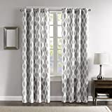 DH 1 Piece 84 Inch Silver Grey White Ikat Curtain Panel, Light Grey Color Drapes Jacquard Pattern Window Treatments, Luxury Themed Contemporary Elegant Traditional Lattice Design, Polyester