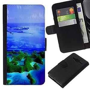 KingStore / Leather Etui en cuir / Samsung Galaxy Core Prime / Islas Trópicos Naturaleza Océano Azul Mar