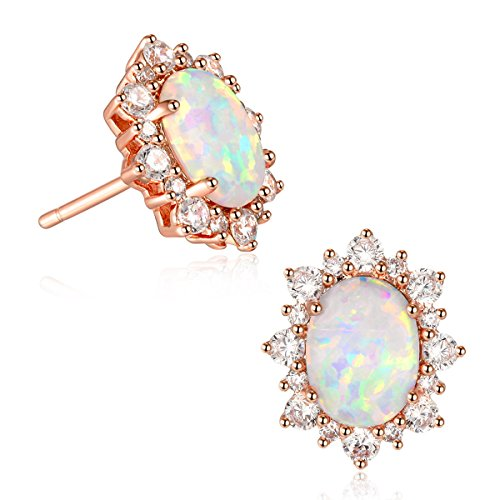 Pure Li Oval Opal Stud Earrings With Cubic Zirconia 18K Rose Gold Plated for women 6x8mm