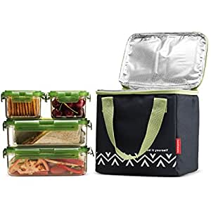 komax lunchmate bento lunch bag and box kit 1 insulated bag with 4 tritan food. Black Bedroom Furniture Sets. Home Design Ideas