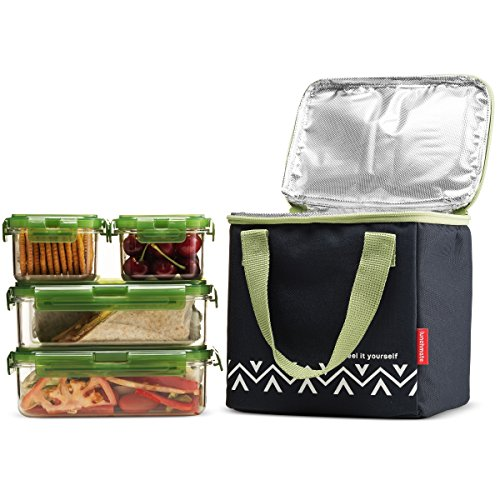 komax lunchmate bento lunch bag and box kit 1 insulated bag with 4 tritan food storage. Black Bedroom Furniture Sets. Home Design Ideas
