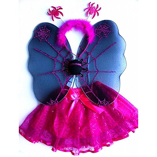 [Fuchsia Toddler Girl Spider Wings Tutu Costume Dress Up Set 1-4T] (Baby Girl Spider Halloween Costume)