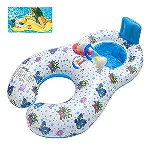Qile Inflable Madre Bebé Piscina natación anillo,Bebé Inflable ...