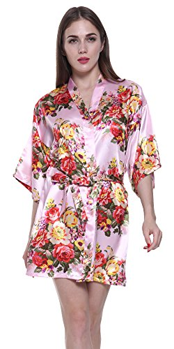 JOYTTON Women's Satin Floral Kimono Bathrobe Wedding Bridesmaid Robe (M,Pink)