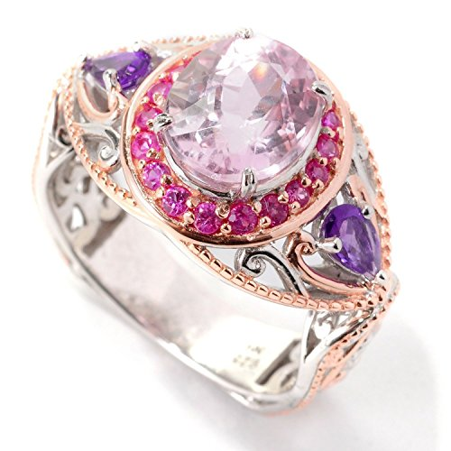 Michael Valitutti Palladium Silver Oval Kunzite, Pink Sapphire & Amethyst Ring (Amethyst Kunzite Ring)