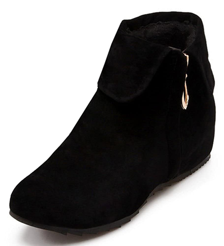 cb361a214013 IDIFU Women s Sweet Fold Side Zip Up Flat Heighten Ankle Boots Faux Suede  Short Booties - Casual Women s Shoes