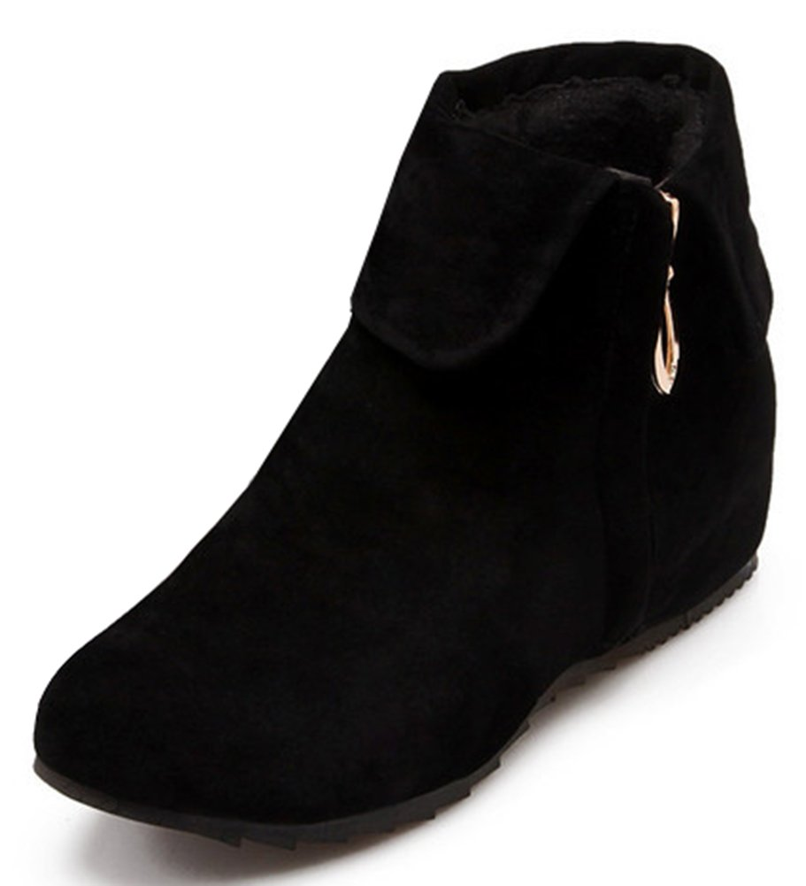 IDIFU Women's Sweet Fold Side Zip up Flat Heighten Ankle Boots Faux Suede Short Booties Black 11.5 B(M) US