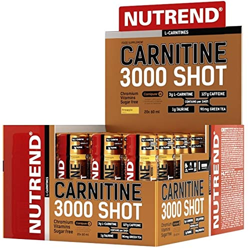 Nutrend CARNITINE 3000 Shot 20x60ml Strawberry Sports Taurine, Caffeine, Practical monodose, Green Tea Extract, Vitamins B1, B5 and B6, L-carnitine, Taurine, Chromium by NuTrend (Image #1)