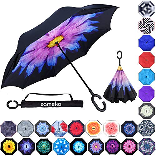 (Zameka Double Layer Inverted Umbrellas Reverse Folding Umbrella Windproof UV Protection Big Straight Umbrella Inside Out Upside Down for Car Rain Outdoor with C-Shaped Handle (Purple Daisies))