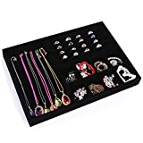 Glitterymall Black Vlevet Jewelry Organizer Drawer Insert 4 In One Stackable Jewelry Accessories Display Tray Holder Showcase Storage Compartments for Rings Necklaces Earrings