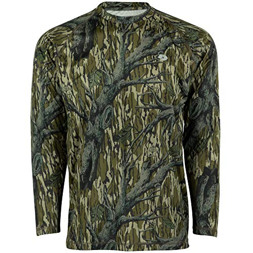 Mossy Oak Mo Camo Performance Long Sleeve Tech Hunting Shirt, Original Treestand, Medium