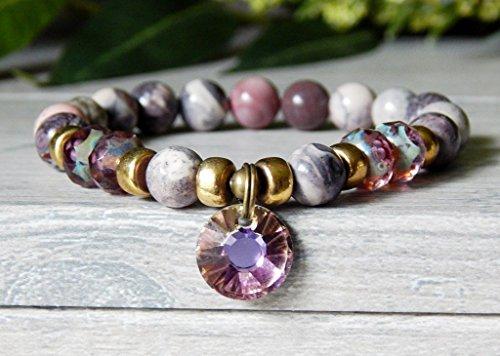 Bracelet Beaded with Rose Terra Jasper Pink Purple Gemstones Crystal Swarovski Pendant Goddess (Jasper Goddess Pendant)