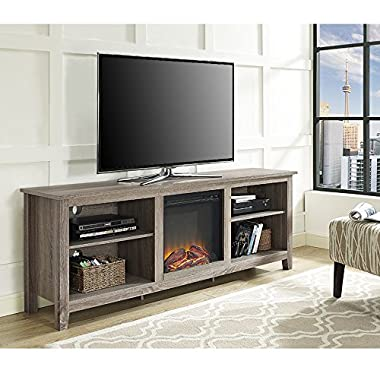 WE Furniture 70  Wood Fireplace TV Stand Console, Driftwood