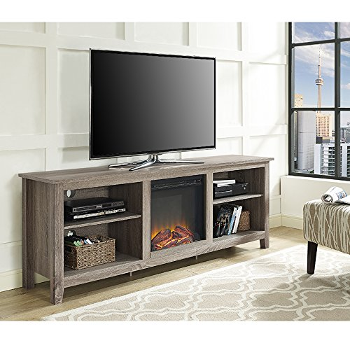 New 70 Inch Wide Fireplace Television Stand in Driftwood (Fireplace Unit)