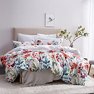 Leadtimes Flower Duvet Cover Set, Floral Boho Hotel Bedding Sets Comforter Cover with Soft Lightweight Microfiber 1 Duvet Cover and 2 Pillow Shams (Queen, Style2)