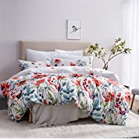 Leadtimes Kids Flower Duvet Cover Set, Girls Floral Leaf White Bedding Set with Soft Lightweight Microfiber 1 Duvet Cover and 1 Pillow Sham (Twin, Style2)