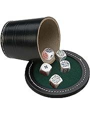 Engelhart - Juego dados poker con cubilete , tapa con mini tapete y dados - 300610