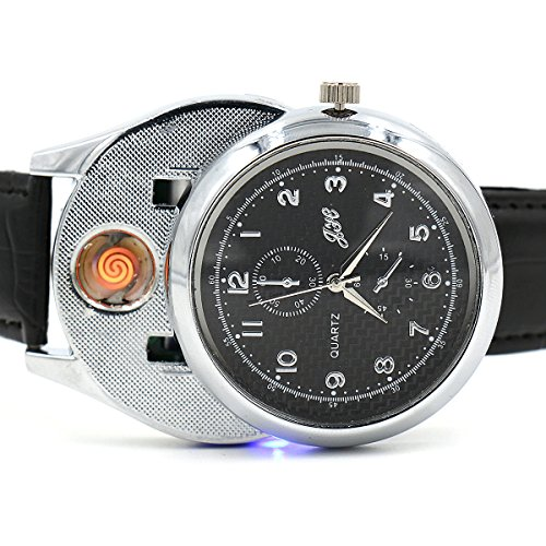 EL-move Cigarette Lighter Watch 2 in 1 USB Electronic Novelty Windproof Quartz Watch Men's Rechargeable Sporty Wristwatch Stylish Cool Digital Cigar Lighter Watches Smoking Gifts (Silver)