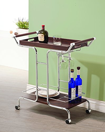 Coaster Contemporary Walnut and Chrome Serving Cart with Stemware Rack and Casters by Coaster Home Furnishings